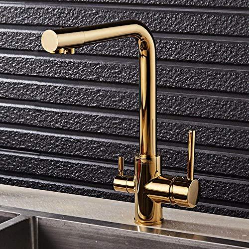 Grifo de la cocina doble función de filtro de agua de 3 vías grifos de la cocina de 360 rotaciones con la purificación del agua Características de mezclador del grifo de la grúa, de oro