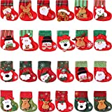 Tatuo 24 Pieces Mini Christmas Stockings, 3D Santa Snowman Silverware Holders, Little Christmas Stockings Gift and Treat Bags Christmas Hanging Socks for Xmas Tree, Home, Garden Decoration