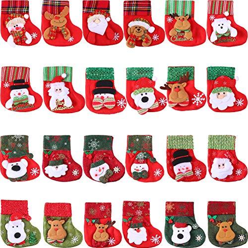 24 Stück Mini Weihnachtsstrümpfe, 3D Santa Schneemann Silber Halter, Kleine Weihnachtsstrümpfe Geschenk und Treat Bags Weihnachten Hängende Socken für Weihnachtsbaum, Haus, Garten Dekoration