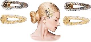 4 Pack Gold Tones Crystal Acrylic Metal Alligator Clips Duckbill Clips Hair Clips Stylish Hair Barrettes with Teeth Hair P...