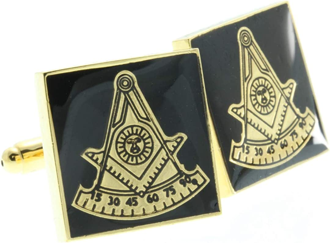 Masonic Cuff Links - Square Shaped Omaha Mall Black and with Gold Color wit unisex