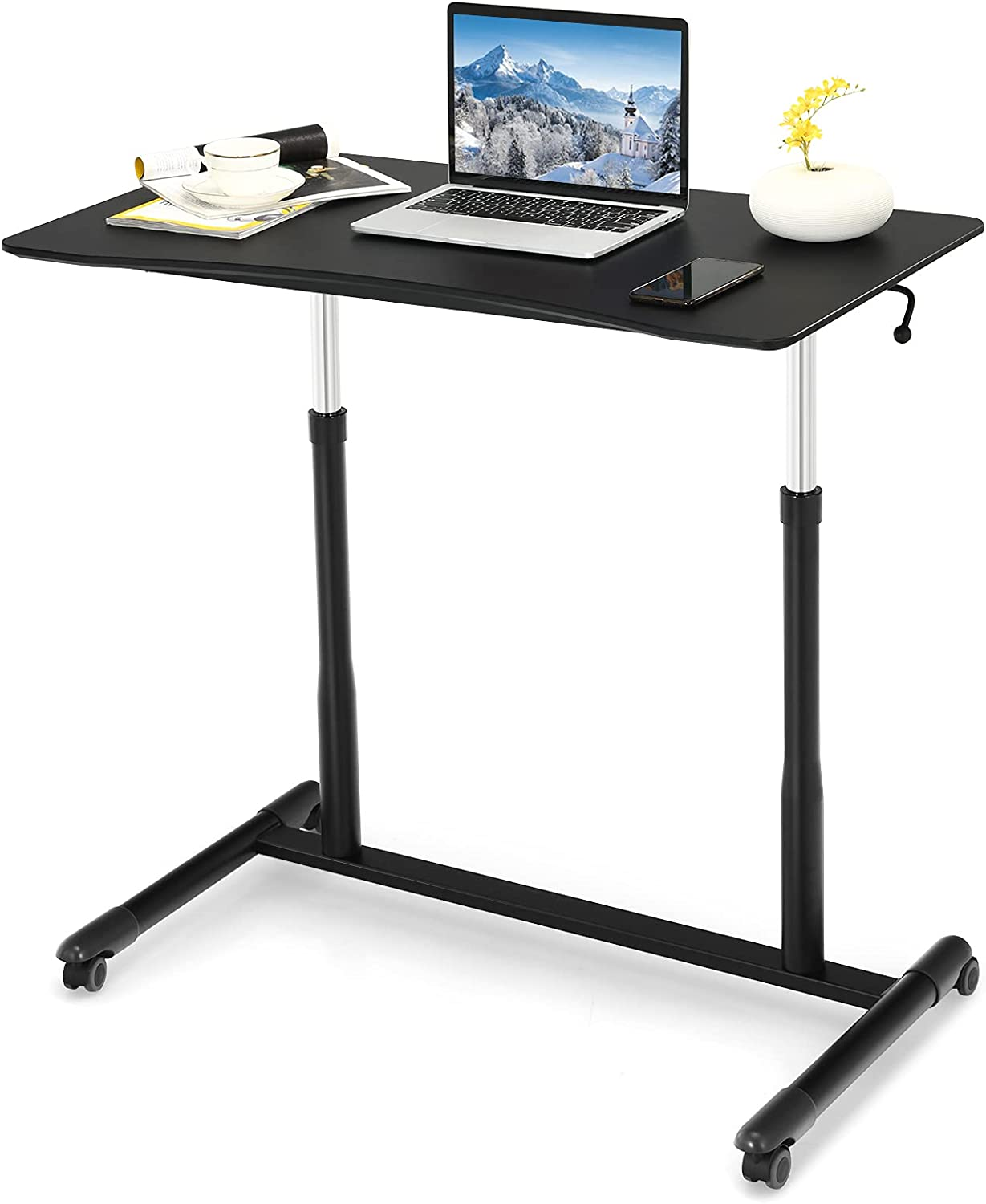 Max 72% OFF Rolling Mobile Standing Desk Sit to Stand Up Save money Height Adjustable S