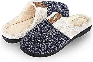 Men's Women's Memory Foam Slippers Cozy Wool-Like Plush Fleece Lined Winter Warm Anti-Skid House Shoes Indoor & Outdoor