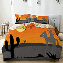 JOSENI Duvet Cover Set Cartoon Style Hot Mexico Desert Landscape with Saguaro Cactus and Horse Rider Beige Decorative 3 Piece Bedding Set with 2 Pillow Shams Twin Size