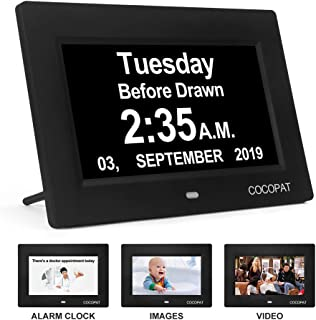 Dementia Digital Day Week Clock - 19 Alarms Am/Pm Clock with USB Charger Port, SD Card Support Play Picture, Video, Large Display for Seniors,Perfect of Memory Loss Calendar