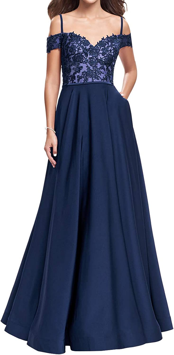 Homecy Off The Shoulder Prom Dresses Long Spaghetti Strap Bridesmaid Gown with Pockets