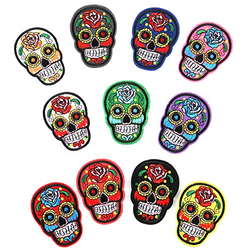 Sugar Skull Patch Iron on or Sew on Patches Halloween Costumes Accessories Day of The Dead Embroidered Patches for Adult Women Men Kids Halloween Costumes Decor Halloween Party Favor Gifts (11 Pcs)