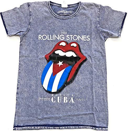 The Rolling Stones Herren T-Shirt Havana Cuba blau