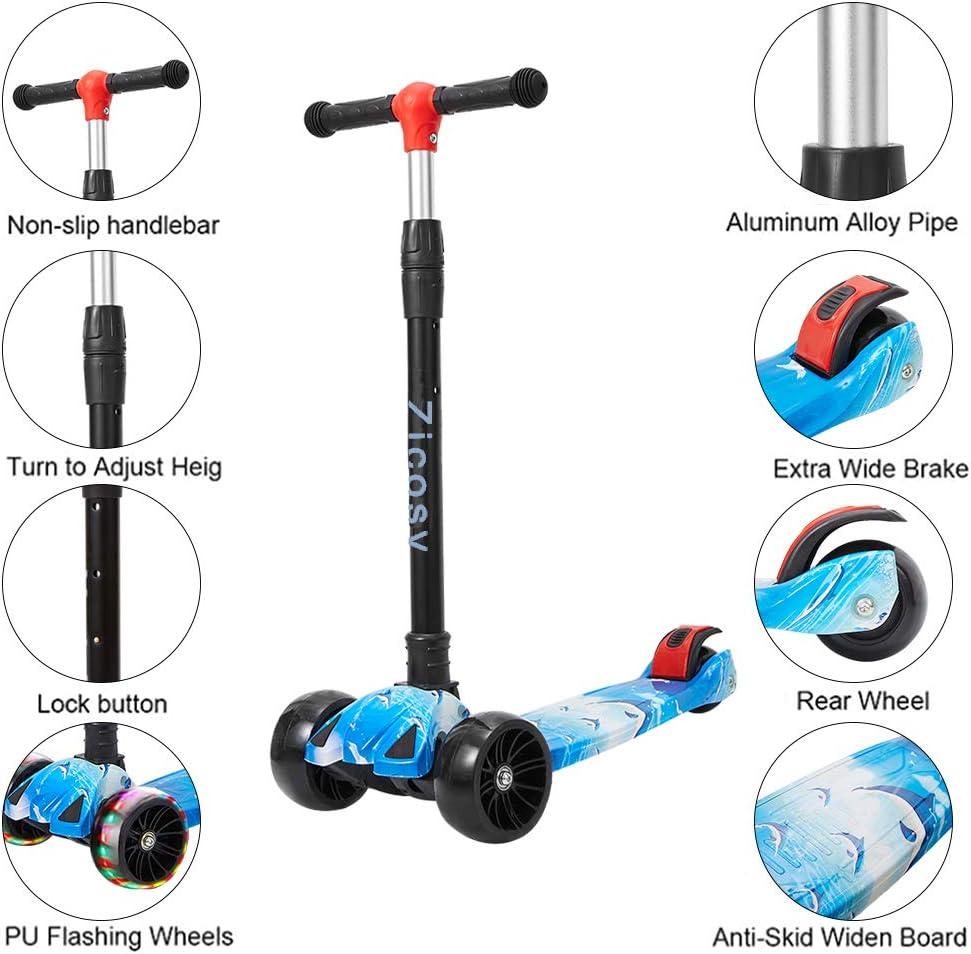 Kinderscooter f/ür,3 h/öhenverstellbarer und Faltbar LenkerKinder-Roller Premium Blinkenden mit PU-LED-Leuchtr/ädern,Kinder-Roller f/ür Jungen und M/ädchen ab 2 Jahren Zicosy Kinder Roller Scooter