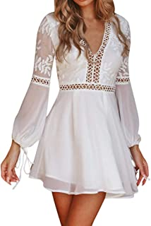 A Line Dresses for Women, Ladies V-Neck Lace Long Sleeve Backless Party Bandage Mini Dress