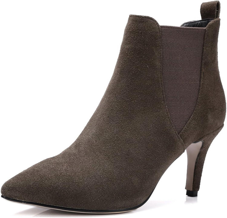 BalaMasa Womens No-Closure Boots Solid Microfiber Boots