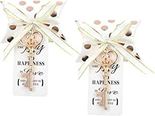 DerBlue 60 PCS Key Bottle Openers Wedding Favors Rustic Decoration with Love Escort Tag Card Pillow Candy Box and Satin Ribbon(with Champagne Gold Wave point)