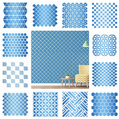 12 Pieces Geometric Honeycomb Stencils Geometric Art Painting Templates DIY Furniture Wall Floor Decor Plaid Stencil for Scrapbooking Drawing Tracing DIY Art Supplies, 7.87 x 7.87 Inches
