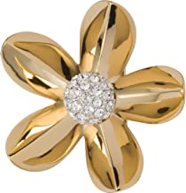 Grace Kelly Collection Swarovski Crystal Diamond Flower Brooch Pin with Velour Covered Steel case.