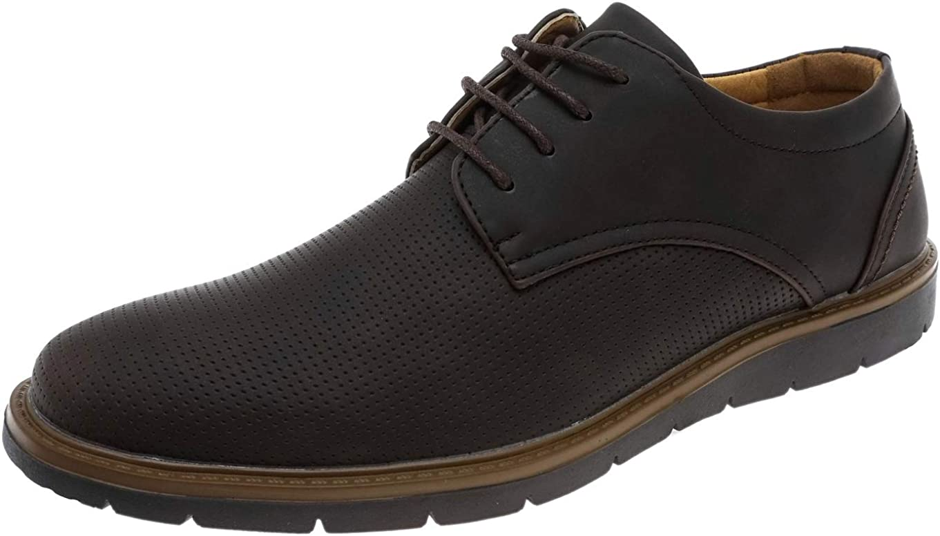 Cambridge Select Men's San Francisco Mall Ranking TOP17 Lace-Up Round Perforated Oxford Toe