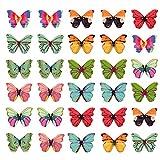 100 bottoni a farfalla in legno, colori misti, a forma di farfalla, con 2 fori e 2 fori, ornamentali per abiti fai da te, copricapo