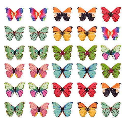 100 botones de mariposa de madera, varios colores vivos botón de mariposa, exquisitos botones de mariposa de 2 agujeros para coser ornamentales para ropa de bricolaje, tocado