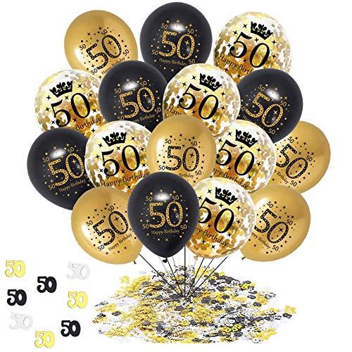 Geburtstag Jubiläum Feier Party Ballons,50 Geburtstag Deko Schwarzes Gold Transparent,Konfetti Luftballon Set für Celebration 50 Deburtstag Party Dekoration Mann Frau - 12 Zoll