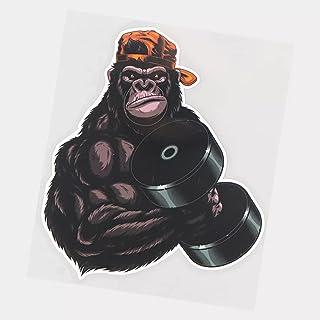 UYEDSR Pegatinas para coche, 2 unidades, diseño de gorila de ejercicio, para coche, coche, adhesivo para coche, 15,5 x 18 cm