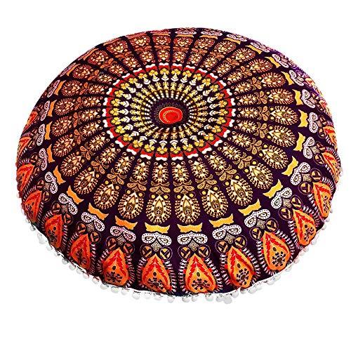 Gaoqi Funda de Almohada, Cojines de Suelo de Mandala Indio, Cojines Bohemios Redondos, Funda Enorme F