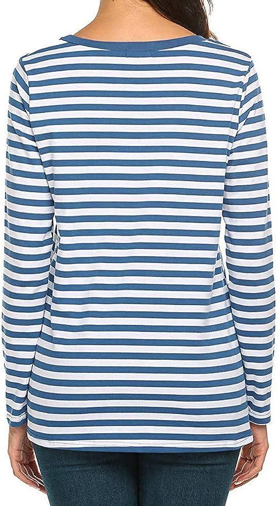 Berimaterry Damen Langarmshirt Gestreiftes Shirt Kurzarm T-Shirt Casual Rundhals Tunika Tops Frauen Lose Basic Streifen Oberteil Frühling Herbst Hemden Bluse Blau