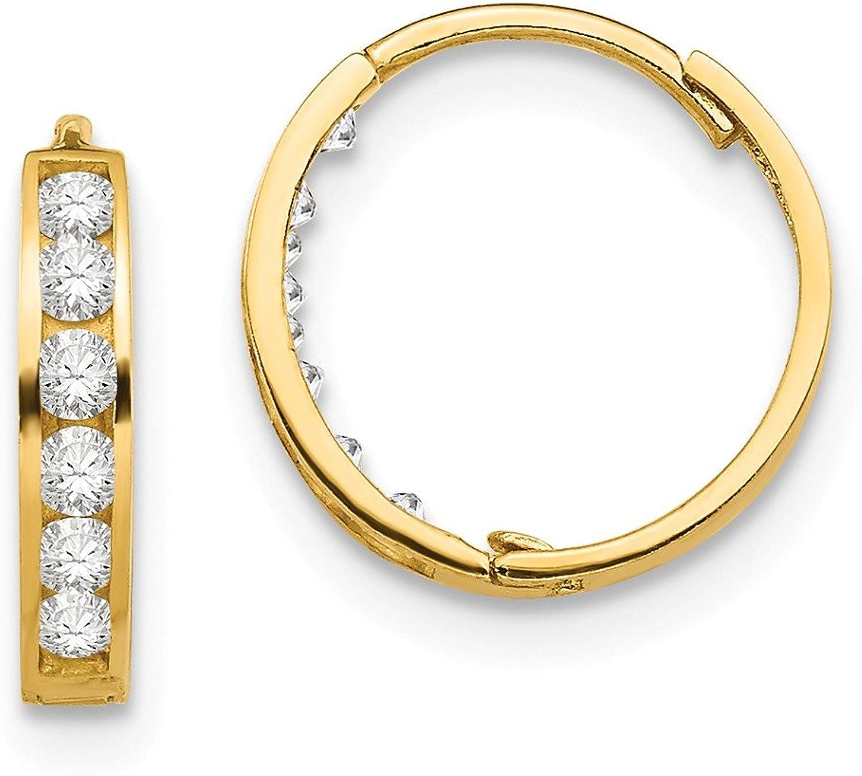 Beautiful Yellow gold 14K Yellowgold 14k Madi K CZ Hinged Hoop Earrings