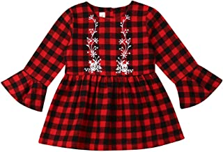Newborn Baby Girl Flare Long Sleeve Plaid Dress Christmas Red Plaids Floral Princess Toddler Clothes