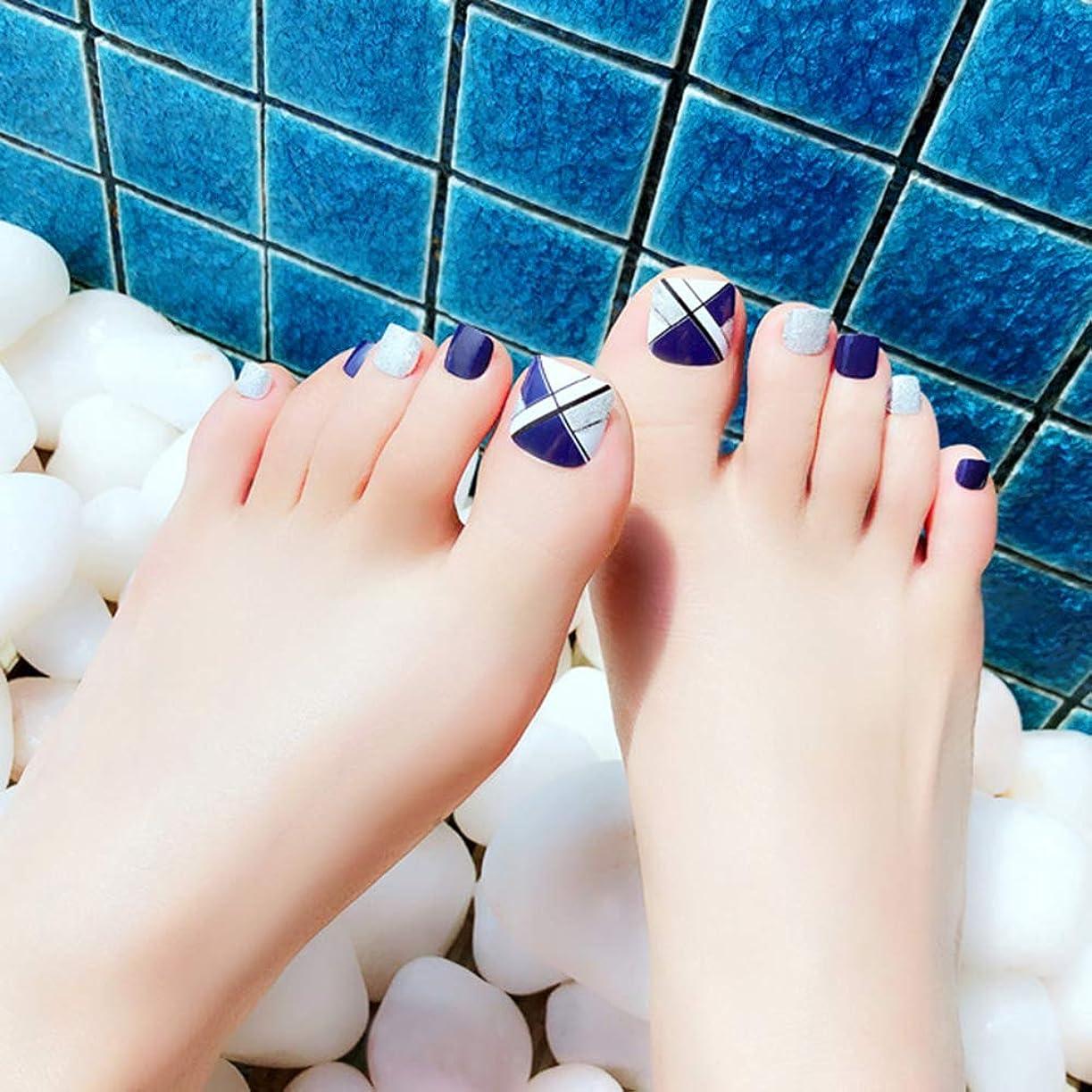 符号爵生まれHuangHM 小さいな足の小指にも最適 つけ爪 付け爪 ジェルネイル ネイルアートフットタイプネイルチップ 24枚入り12サイズ各2枚 足用フットチップ ペディキュア フットネイルチップ