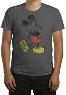 Mickey Mouse Disney Men's Classic Icon Charcoal Graphic Tee