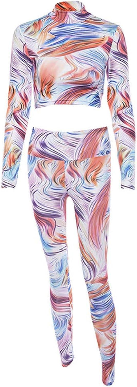 Women's Sports Suit Winter Women's Casual Fitness Set Sports Yoga Wear 3D Print Long Sleeve Fitness Yoga Running Sportswear (Size   M)