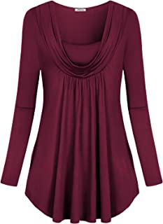 Women's Cowl Neck Long Sleeve Layered Top Shirt with Hand Pockets(FBA)