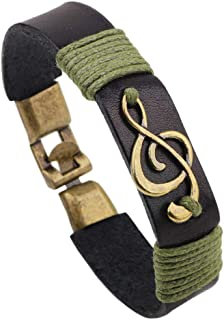 Infinity Music Note Leather Wristband Wrap Bracelets Gifts for Music Lovers Rocker Musician Hippie Men Women