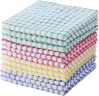 Kitchen Dishcloths 12pcs 12x12 Inches Bulk Cotton Kitchen Dish Cloths Scrubbing Wash Cloths Sets (Mix Color)