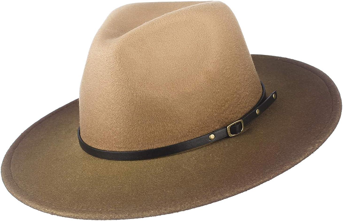 Women/Man Vintage Floppy Fedora Hat Wide Brim Gradient Panama Hat Summer Beach Hat with Belt Buckle