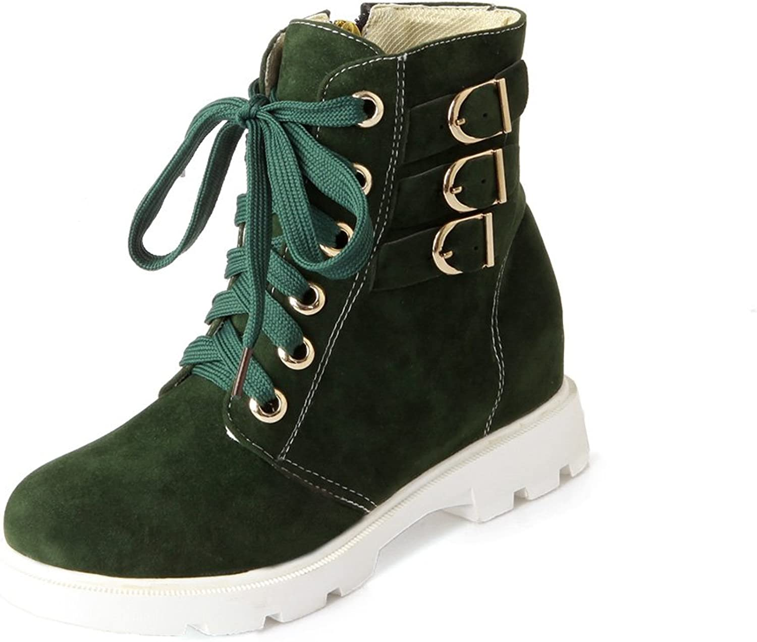 MFairy Woman's Fashion Casual Lace up Ankle Booties Zipper Buckle Boots