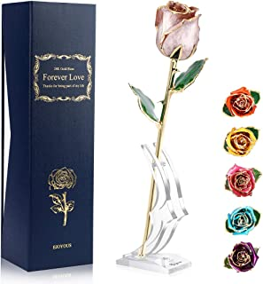 Ejoyous 24K Gold Dipped Rose Forever Gift, Anniversary Birthday Keepsake Present Valentines Day Wedding Marriage Proposal Romantic Gifts for Her Wife Girlfriend, Pastel Pink with Crystal Stand