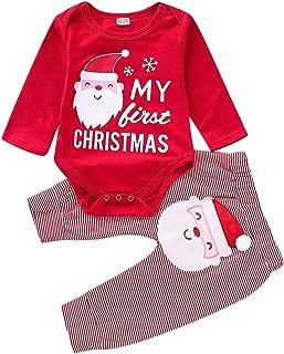 Weixinbuy Toddler Baby Girls Cotton Santa Claus Pattern Romper Bodysuit Stripe Pants Trousers Clothes Set