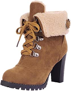 Women Lace-Up High Thick Short Boots Shoes Leisure Ankle Boots High-Heel Boots (Color : Yellow, Size : 3.5 UK)