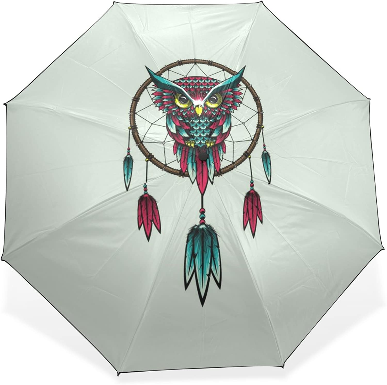 JSTEL Owl Bird Windproof & Waterproof Compact Travel Umbrella AntiUV Predective Canopy Parasol UPF 50+ Sun Block Umbrella Summer Shady Folding Sun Umbrella