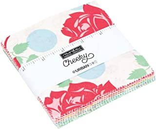 MODA Cheeky Charm Pack by Urban Chiks; 42-5 Inch Precut Fabric Quilt Squares, Assorted