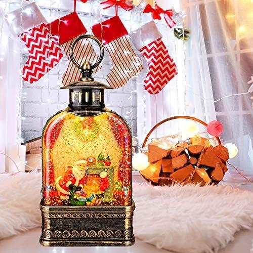 Christmas Snow Globe Lantern Fireplace Santa and His Gifts LED Musical Snow Water Globe Lantern product image