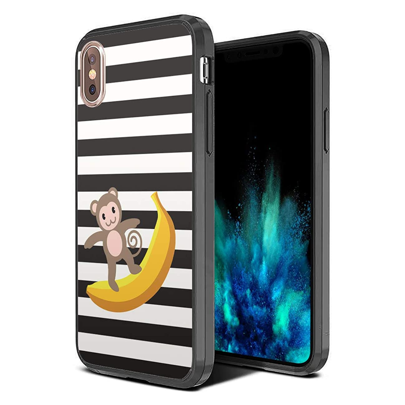 Moriko Case Compatible with iPhone Xs Max [Hybrid Slim Hard Back Shield with Fused TPU Edge Bumper Case Black] for iPhone Xs Max - (Monkey Banana)