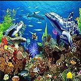 JFZJFZ Papel tapiz mural 3D para decoración de habitación de niños, papel tapiz de fondo de TV de acuario de mundo submarino de dibujos animados-350x250cm