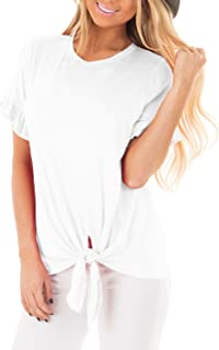 Pneacimi Tie Front Short Sleeve Casual Loose Shirt Tops for Women