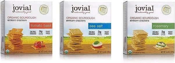 Jovial Sourdough Einkorn Crackers Variety 4.5 Oz ( 3 Flavors, 1 Each Tomato Basil, Rosemary, Sea Salt)