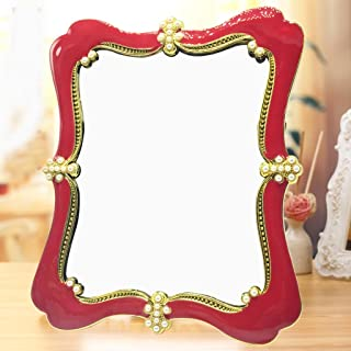 NYDZDM High - Definition Mirror Desktop Makeup Mirror Folding Portable European - Style Mirror Large Wedding Simple Single - Frame Picture Frame Mirror (Color : Red)