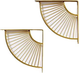 2 Pack Scallop Bracket,Wall Mounted Steel Matte Gold Bracket Shelving Support for Shelf Boards,Triangle Wall Shelf Gold Metal Right Angle Partition Bracket