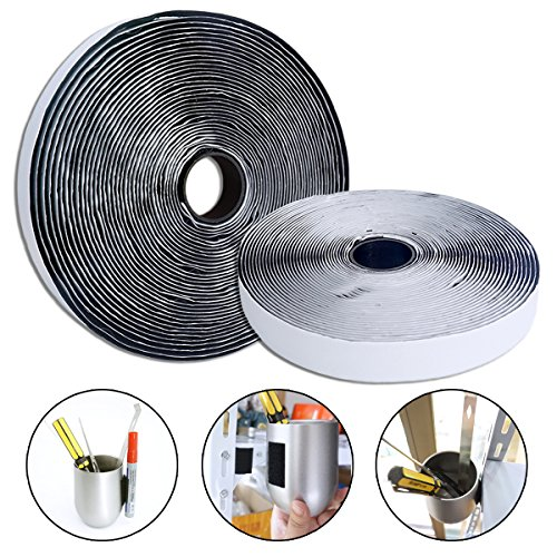 Black Self Adhesive Sticky Hook and Loop Tape (2 Rolls) Sticky Back Tape Fabric Fastener, 3/4 Inch x 32.8 Feet