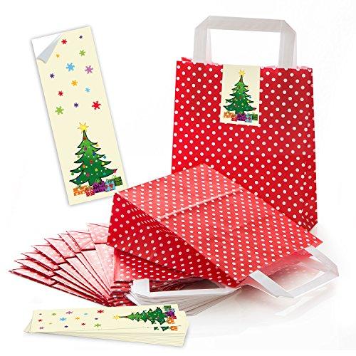 25 rot weiß gepunktete Papiertüte Geschenk-tüte Weihnachtstüte Boden 18 x 8 x 22 cm kleine Papiertasche + Weihnachts-Aufkleber Weihnachtsbaum grün rot gelb Verpackung Geschenke