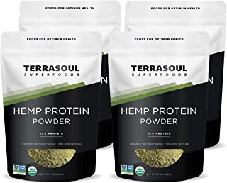 Terrasoul Superfoods Organic Hemp Protein Powder (50% Protein), 4 Pounds